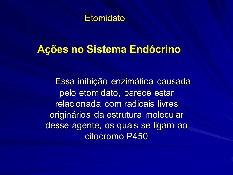 Etomidato Ações no Sistema Endócrino Essa inibição enzimática causada pelo etomidato, parece estar relacionada com radicais livres originários da estr
