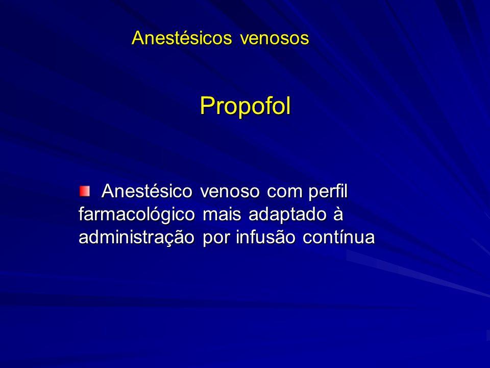 Anestésicos venosos Propofol Anestésico venoso com perfil farmacológico mais adaptado à administração por infusão contínua Anestésico venoso com perfi
