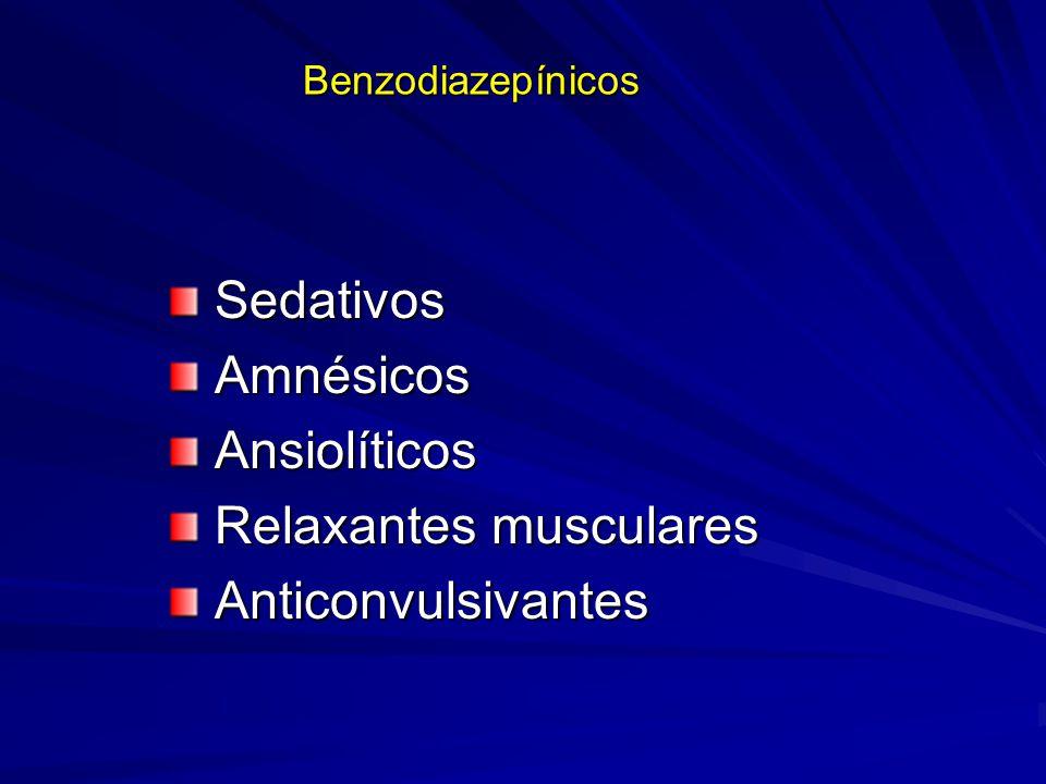 Benzodiazepínicos Sedativos Sedativos Amnésicos Amnésicos Ansiolíticos Ansiolíticos Relaxantes musculares Relaxantes musculares Anticonvulsivantes Ant
