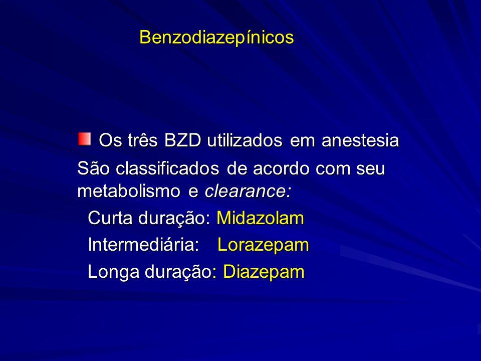 Benzodiazepínicos Os três BZD utilizados em anestesia Os três BZD utilizados em anestesia São classificados de acordo com seu metabolismo e clearance: