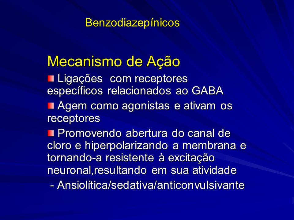 Benzodiazepínicos Mecanismo de Ação Ligações com receptores específicos relacionados ao GABA Ligações com receptores específicos relacionados ao GABA