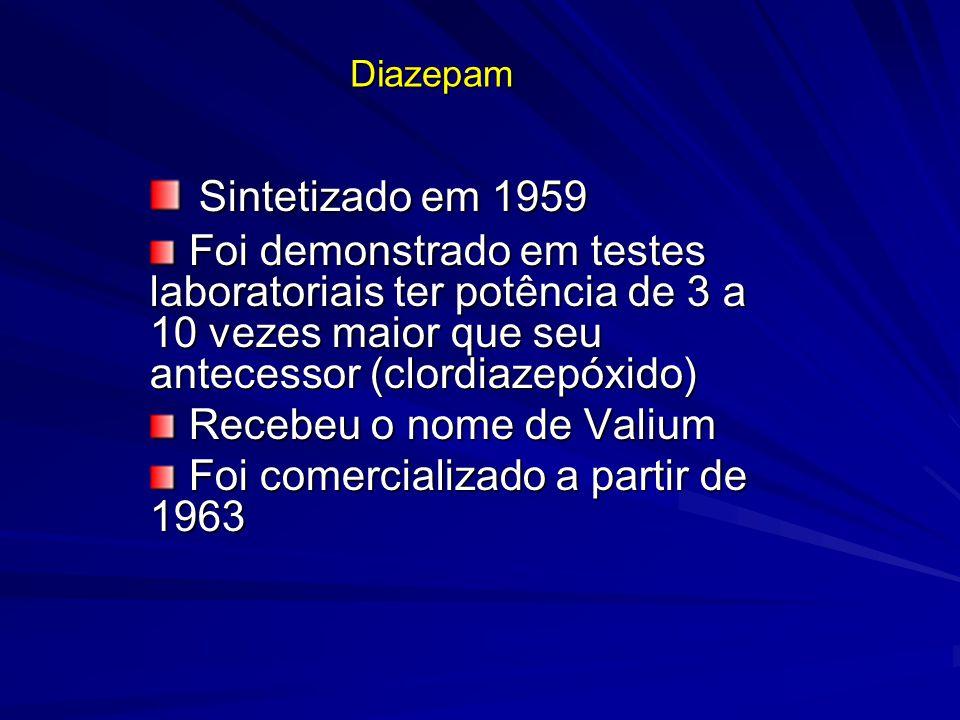 Diazepam Sintetizado em 1959 Sintetizado em 1959 Foi demonstrado em testes laboratoriais ter potência de 3 a 10 vezes maior que seu antecessor (clordi