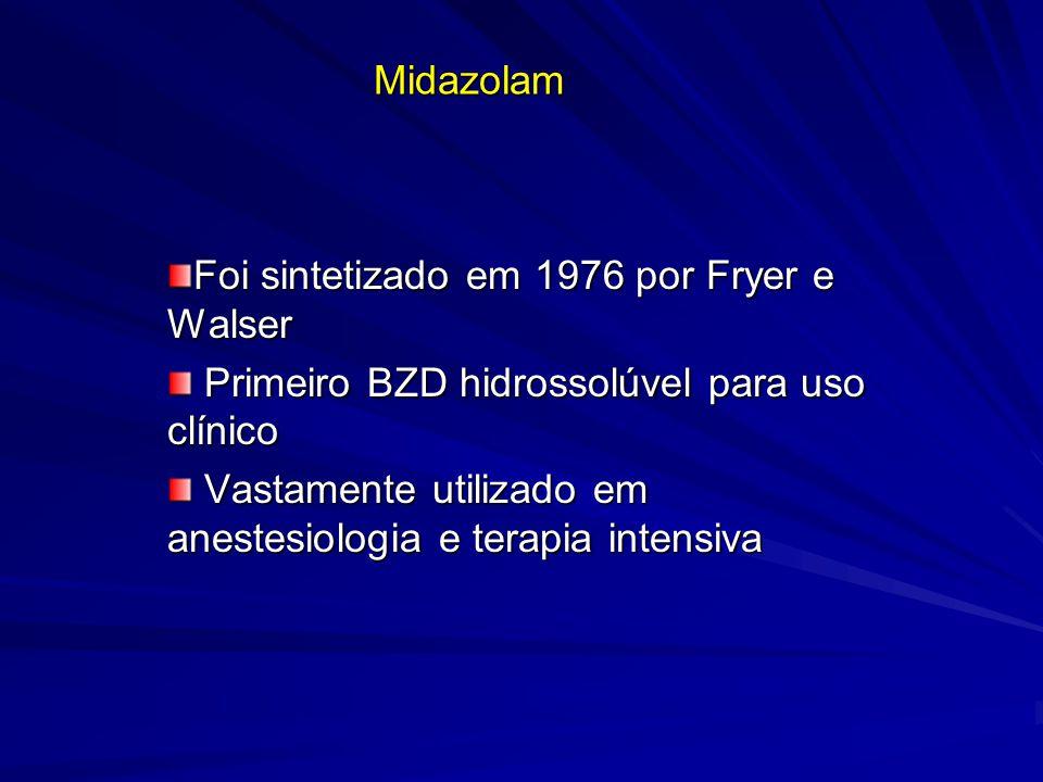 Midazolam Foi sintetizado em 1976 por Fryer e Walser Primeiro BZD hidrossolúvel para uso clínico Primeiro BZD hidrossolúvel para uso clínico Vastament