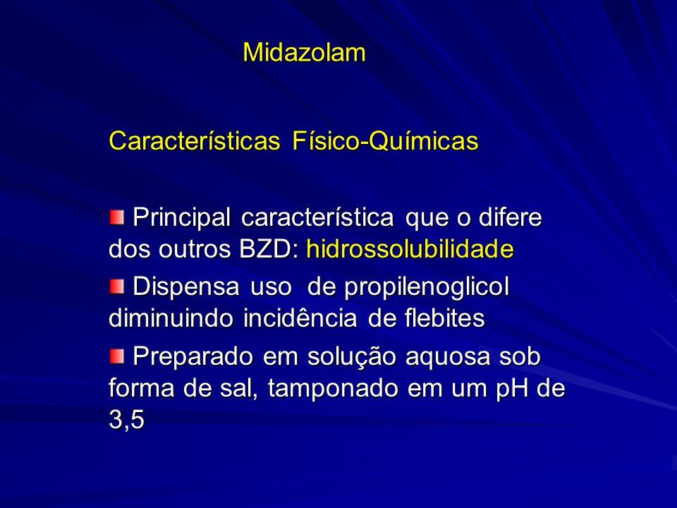 Midazolam Características Físico-Químicas Principal característica que o difere dos outros BZD: hidrossolubilidade Principal característica que o dife