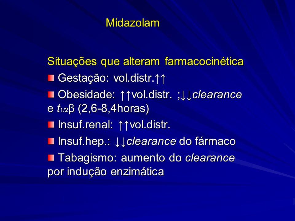 Midazolam Situações que alteram farmacocinética Gestação: vol.distr. Gestação: vol.distr. Obesidade: vol.distr. ;clearance e t 1/2 β (2,6-8,4horas) Ob