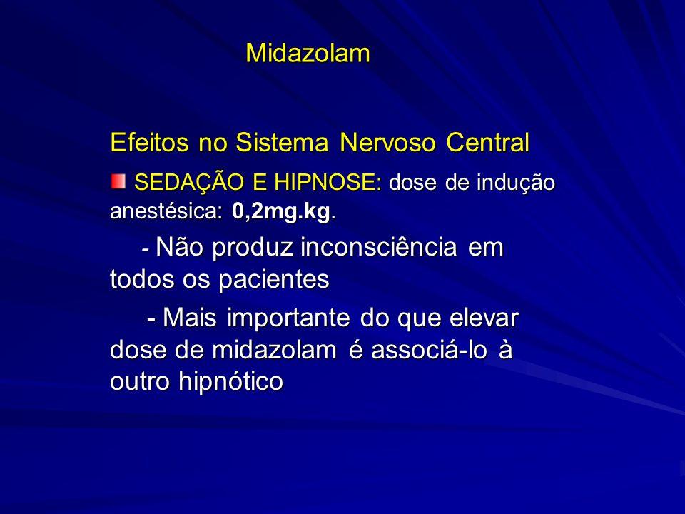 Midazolam Efeitos no Sistema Nervoso Central SEDAÇÃO E HIPNOSE: dose de indução anestésica: 0,2mg.kg. SEDAÇÃO E HIPNOSE: dose de indução anestésica: 0