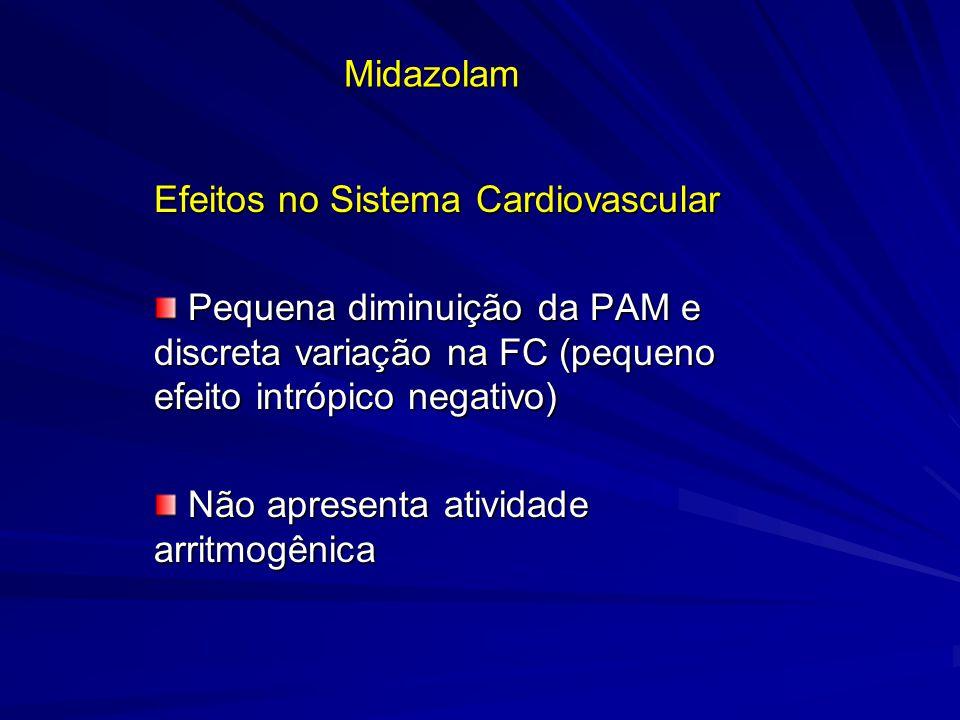 Midazolam Efeitos no Sistema Cardiovascular Pequena diminuição da PAM e discreta variação na FC (pequeno efeito intrópico negativo) Pequena diminuição