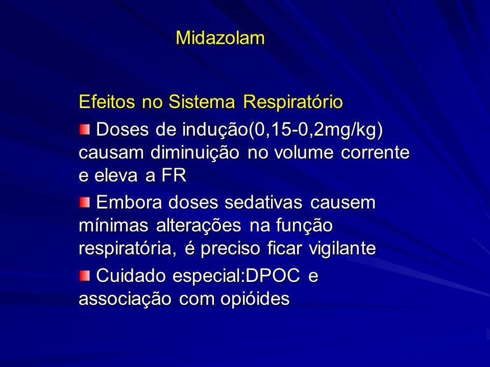 Midazolam Efeitos no Sistema Respiratório Doses de indução(0,15-0,2mg/kg) causam diminuição no volume corrente e eleva a FR Doses de indução(0,15-0,2m