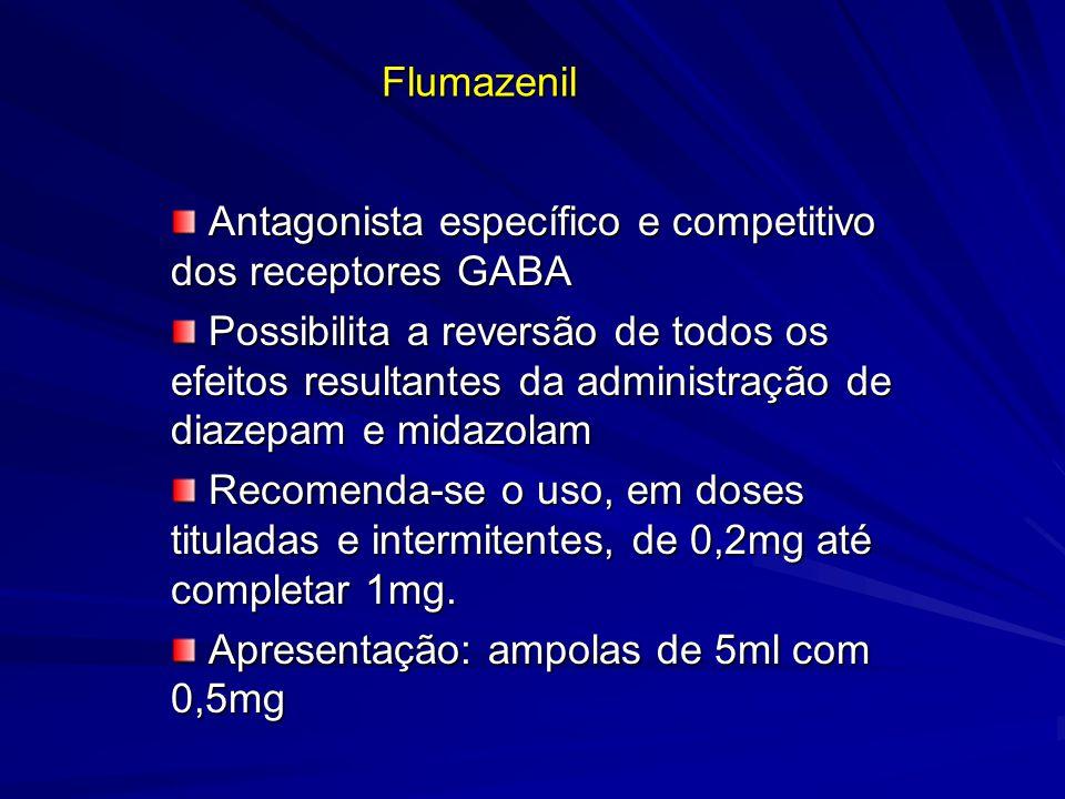 Flumazenil Antagonista específico e competitivo dos receptores GABA Antagonista específico e competitivo dos receptores GABA Possibilita a reversão de