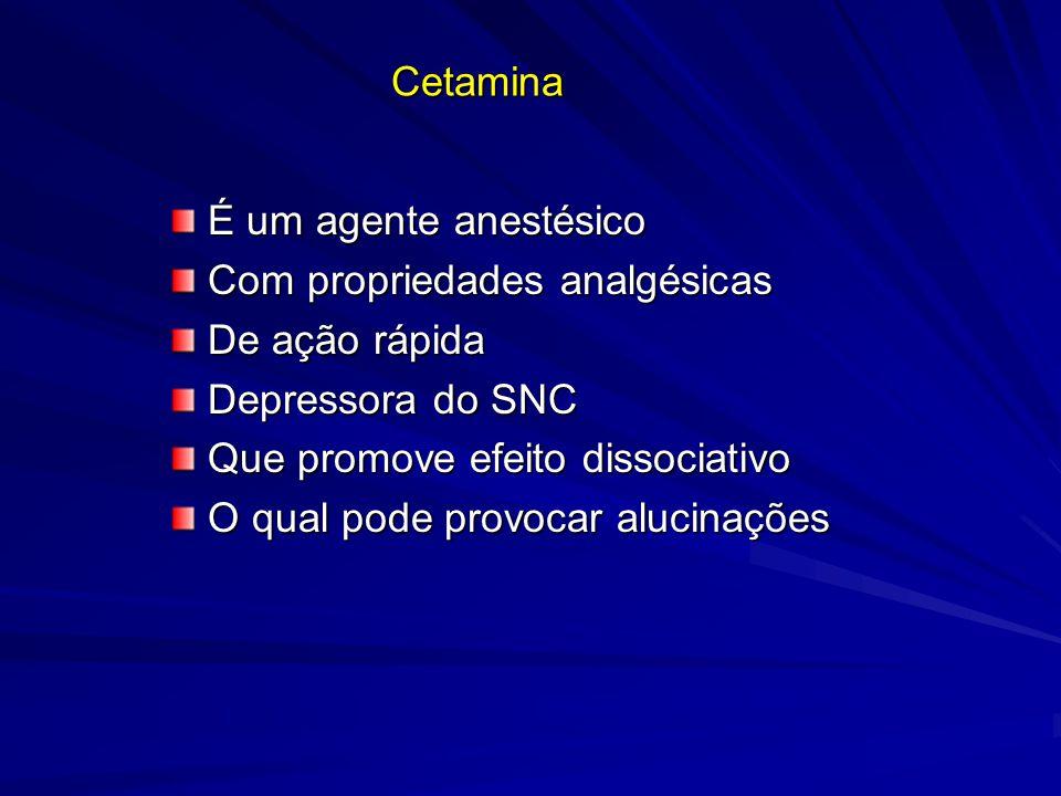 Cetamina É um agente anestésico É um agente anestésico Com propriedades analgésicas Com propriedades analgésicas De ação rápida De ação rápida Depress