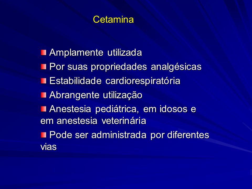 Cetamina Amplamente utilizada Amplamente utilizada Por suas propriedades analgésicas Por suas propriedades analgésicas Estabilidade cardiorespiratória