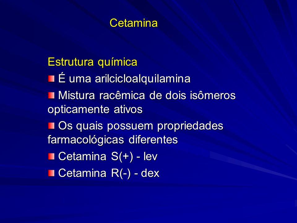 Cetamina Estrutura química É uma arilcicloalquilamina É uma arilcicloalquilamina Mistura racêmica de dois isômeros opticamente ativos Mistura racêmica