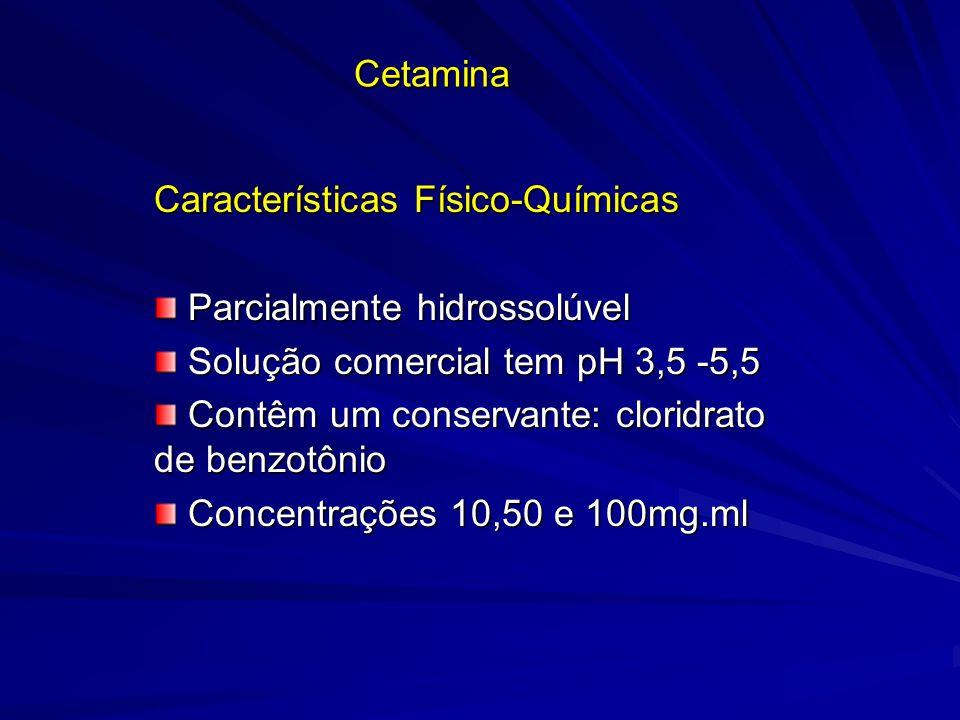 Cetamina Características Físico-Químicas Parcialmente hidrossolúvel Parcialmente hidrossolúvel Solução comercial tem pH 3,5 -5,5 Solução comercial tem