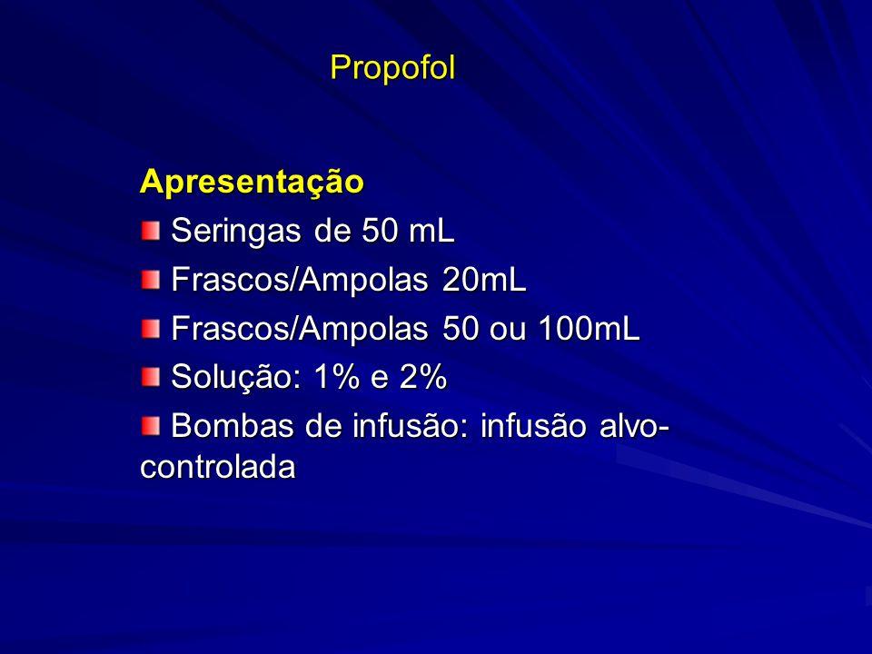 Propofol Apresentação Seringas de 50 mL Seringas de 50 mL Frascos/Ampolas 20mL Frascos/Ampolas 20mL Frascos/Ampolas 50 ou 100mL Frascos/Ampolas 50 ou