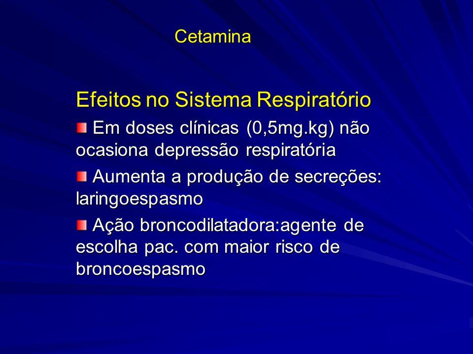 Cetamina Efeitos no Sistema Respiratório Em doses clínicas (0,5mg.kg) não ocasiona depressão respiratória Em doses clínicas (0,5mg.kg) não ocasiona de