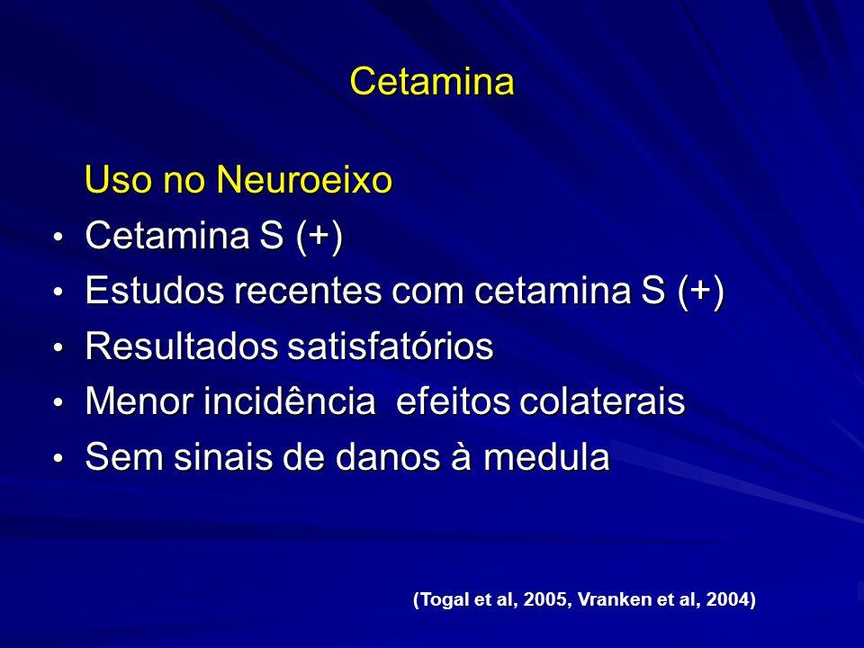 Cetamina Uso no Neuroeixo Uso no Neuroeixo Cetamina S (+) Cetamina S (+) Estudos recentes com cetamina S (+) Estudos recentes com cetamina S (+) Resul