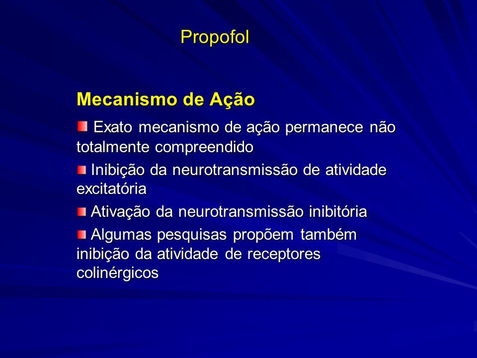 Propofol Mecanismo de Ação Exato mecanismo de ação permanece não totalmente compreendido Exato mecanismo de ação permanece não totalmente compreendido