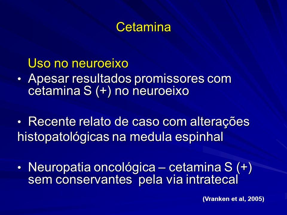 Cetamina Uso no neuroeixo Uso no neuroeixo Apesar resultados promissores com cetamina S (+) no neuroeixo Apesar resultados promissores com cetamina S