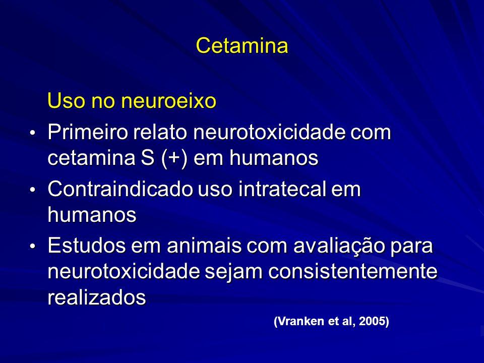 CetaminaCetamina Uso no neuroeixo Uso no neuroeixo Primeiro relato neurotoxicidade com cetamina S (+) em humanos Primeiro relato neurotoxicidade com c