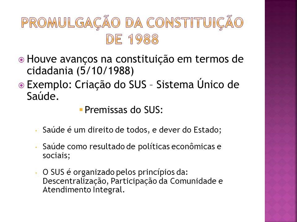 Houve avanços na constituição em termos de cidadania (5/10/1988) Exemplo: Criação do SUS – Sistema Único de Saúde. Premissas do SUS: Saúde é um direit