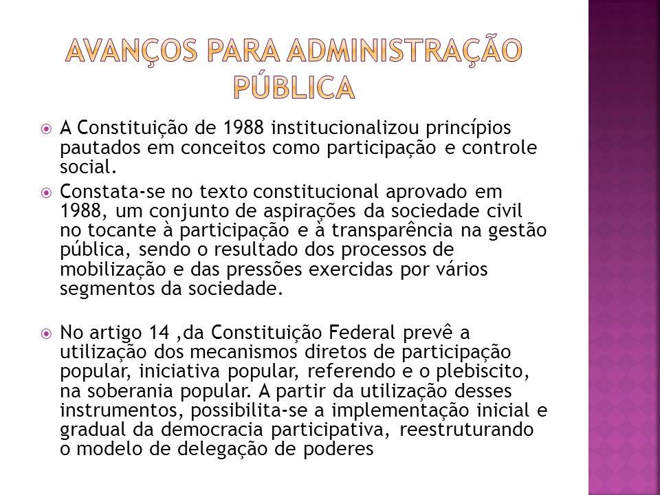 A Constituição de 1988 institucionalizou princípios pautados em conceitos como participação e controle social. Constata-se no texto constitucional apr