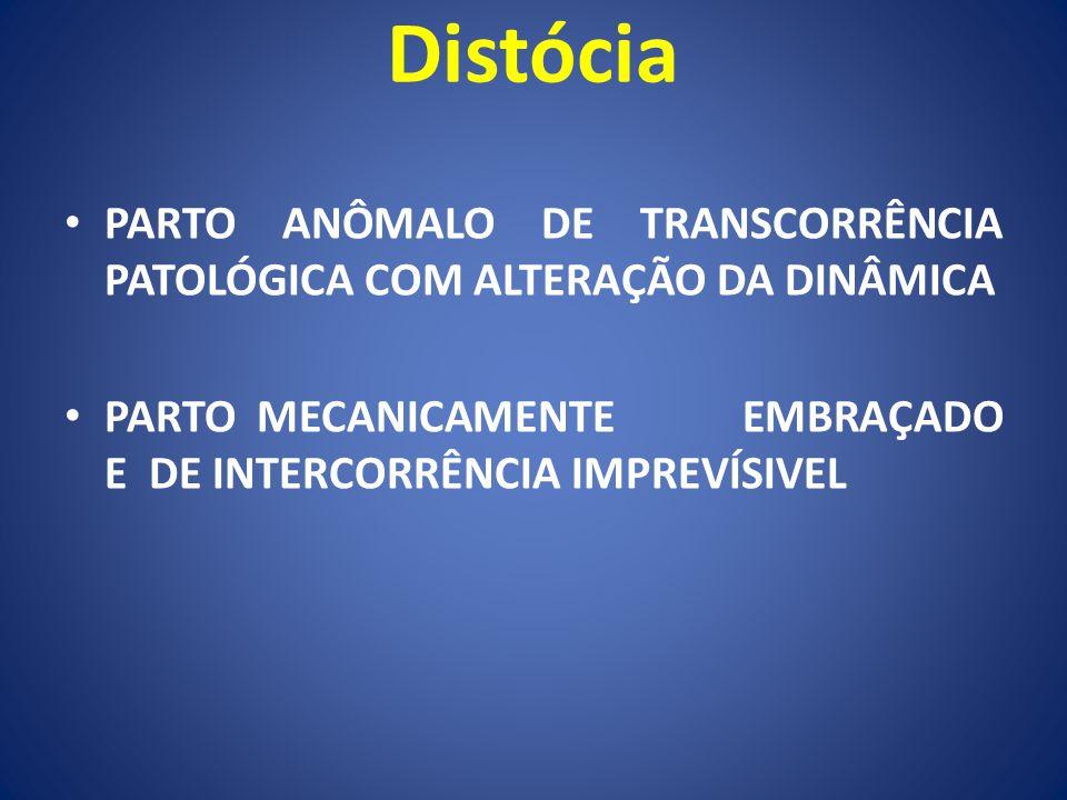 Distócia PARTO ANÔMALO DE TRANSCORRÊNCIA PATOLÓGICA COM ALTERAÇÃO DA DINÂMICA PARTO MECANICAMENTE EMBRAÇADO E DE INTERCORRÊNCIA IMPREVÍSIVEL