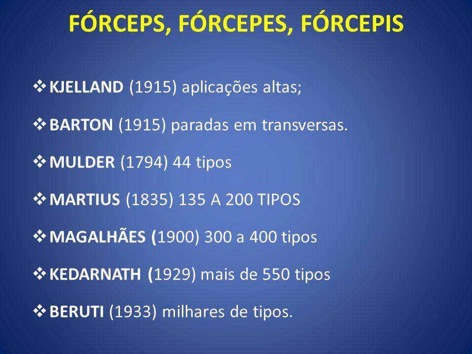 KJELLAND (1915) aplicações altas; BARTON (1915) paradas em transversas. MULDER (1794) 44 tipos MARTIUS (1835) 135 A 200 TIPOS MAGALHÃES (1900) 300 a 4