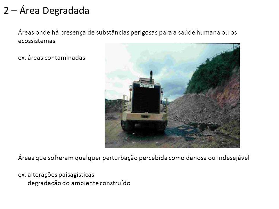 Áreas onde há presença de substâncias perigosas para a saúde humana ou os ecossistemas ex. áreas contaminadas Áreas que sofreram qualquer perturbação
