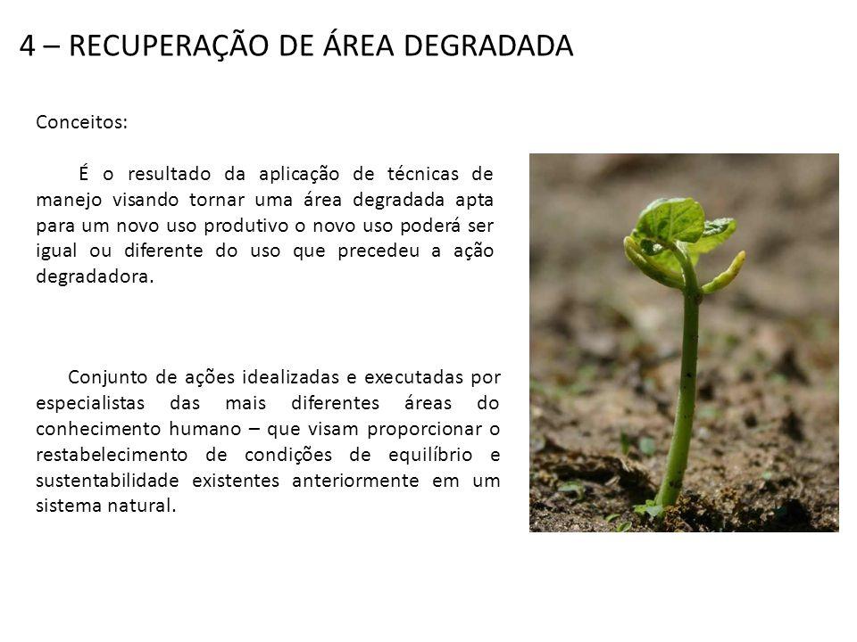 Segundo o IBAMA (1990), a recuperação significa que o sítio degradado será retornado a uma forma e utilização de acordo com o plano preestabelecido para o uso do solo.