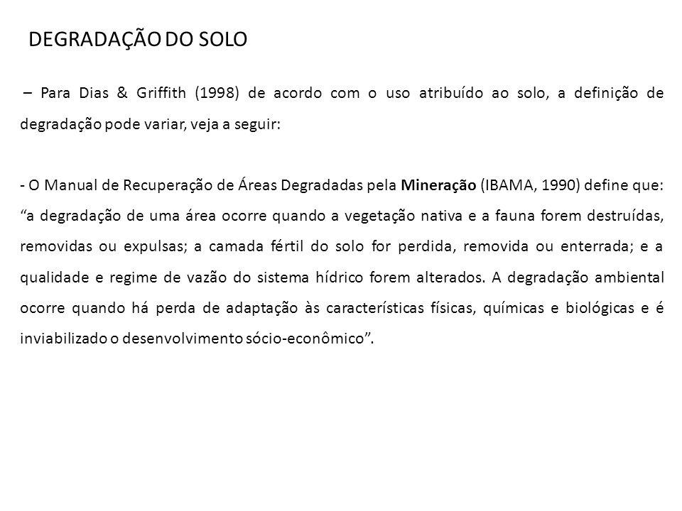 – Para Dias & Griffith (1998) de acordo com o uso atribuído ao solo, a definição de degradação pode variar, veja a seguir: - O Manual de Recuperação d