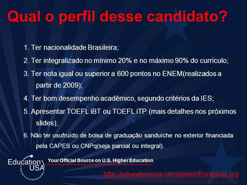 Your Official Source on U.S. Higher Education Qual o perfil desse candidato? 1. Ter nacionalidade Brasileira; 2. Ter integralizado no mínimo 20% e no