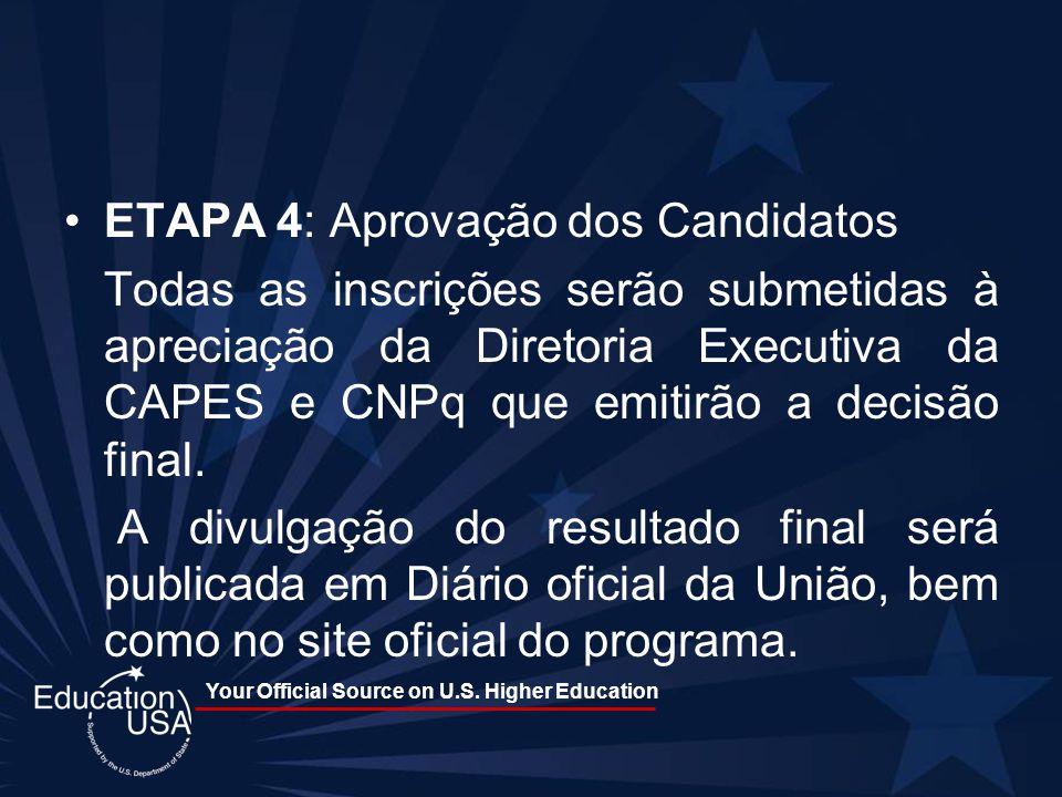 Your Official Source on U.S. Higher Education ETAPA 4: Aprovação dos Candidatos Todas as inscrições serão submetidas à apreciação da Diretoria Executi