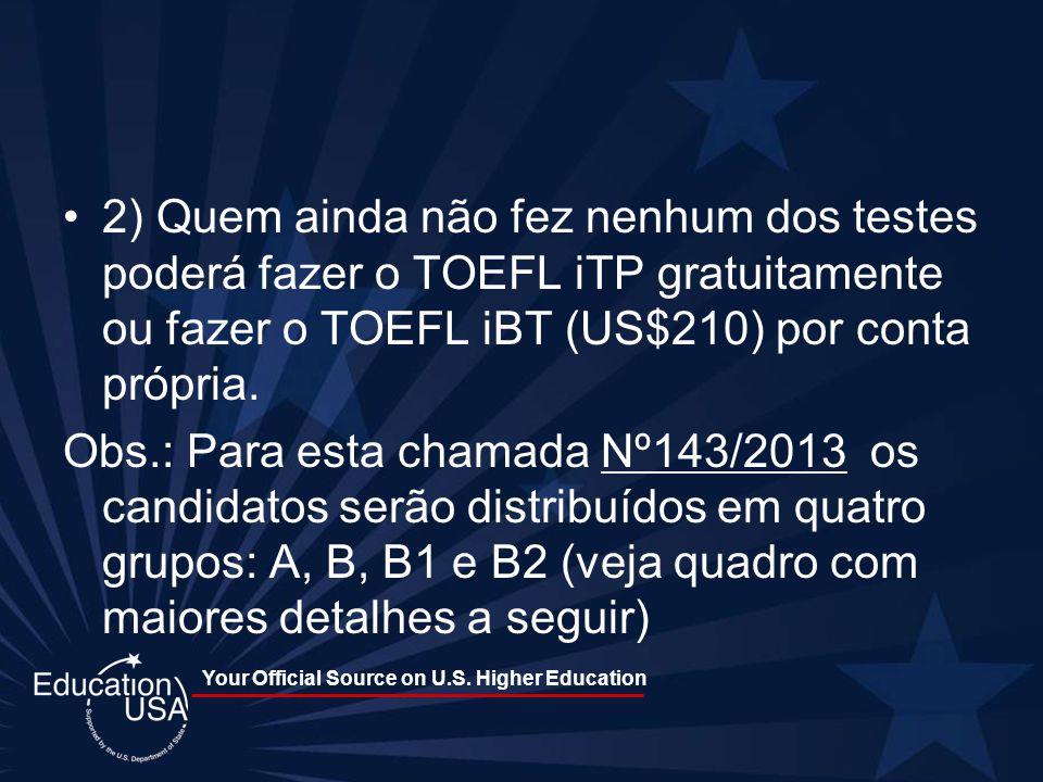 Your Official Source on U.S. Higher Education 2) Quem ainda não fez nenhum dos testes poderá fazer o TOEFL iTP gratuitamente ou fazer o TOEFL iBT (US$