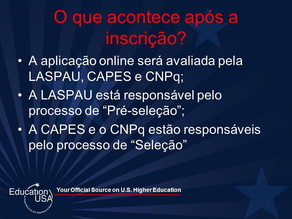 Your Official Source on U.S. Higher Education O que acontece após a inscrição? A aplicação online será avaliada pela LASPAU, CAPES e CNPq; A LASPAU es
