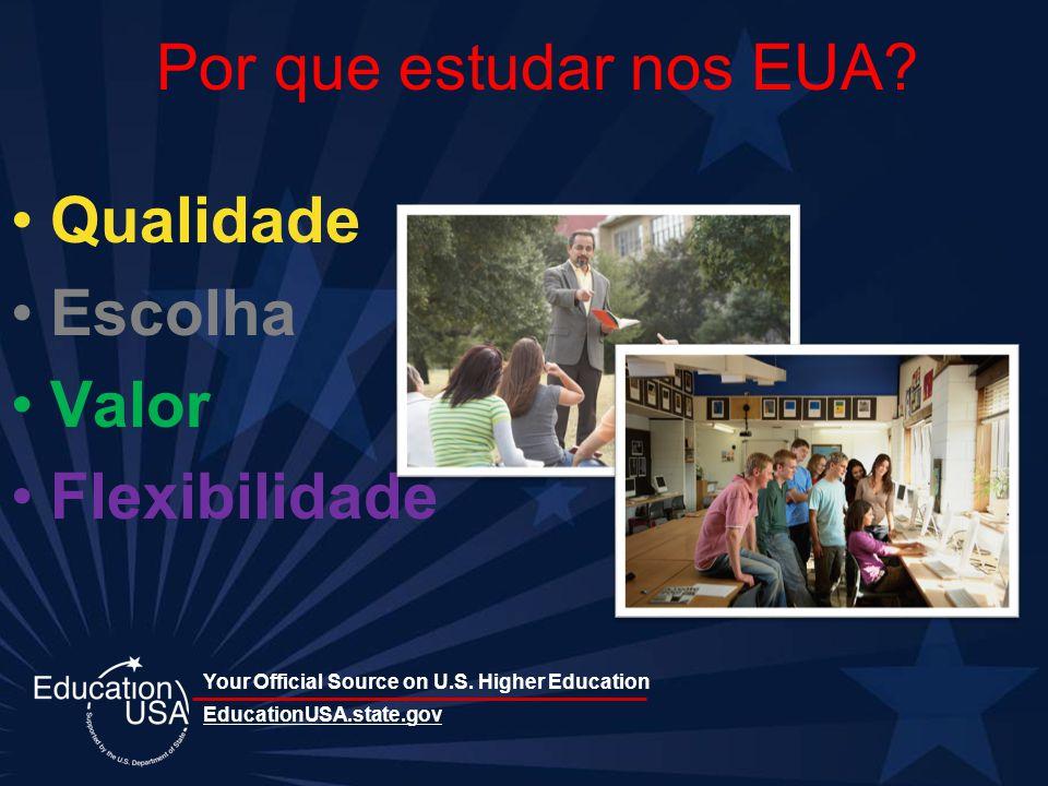 Your Official Source on U.S. Higher Education Por que estudar nos EUA? Qualidade Escolha Valor Flexibilidade EducationUSA.state.gov