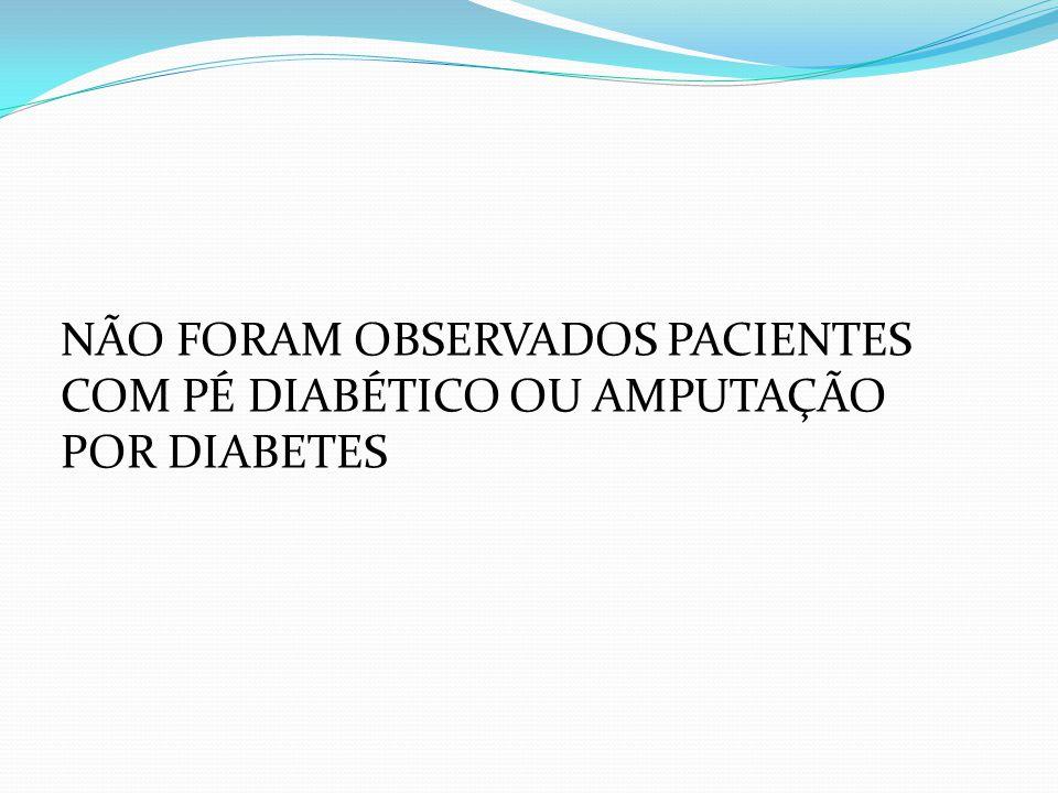 NÃO FORAM OBSERVADOS PACIENTES COM PÉ DIABÉTICO OU AMPUTAÇÃO POR DIABETES