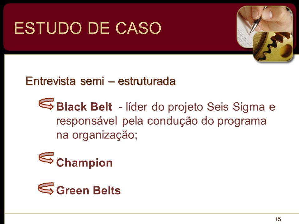 ESTUDO DE CASO 15 Black Belt - líder do projeto Seis Sigma e responsável pela condução do programa na organização; Champion Green Belts Entrevista semi – estruturada