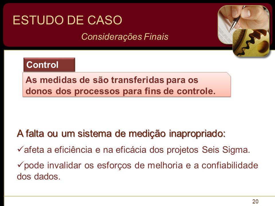 20 ESTUDO DE CASO Considerações Finais Control As medidas de são transferidas para os donos dos processos para fins de controle.