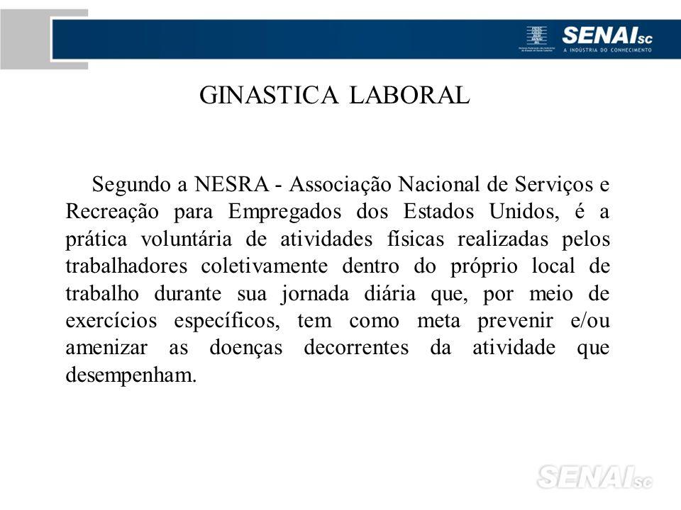 Segundo a NESRA - Associação Nacional de Serviços e Recreação para Empregados dos Estados Unidos, é a prática voluntária de atividades físicas realiza