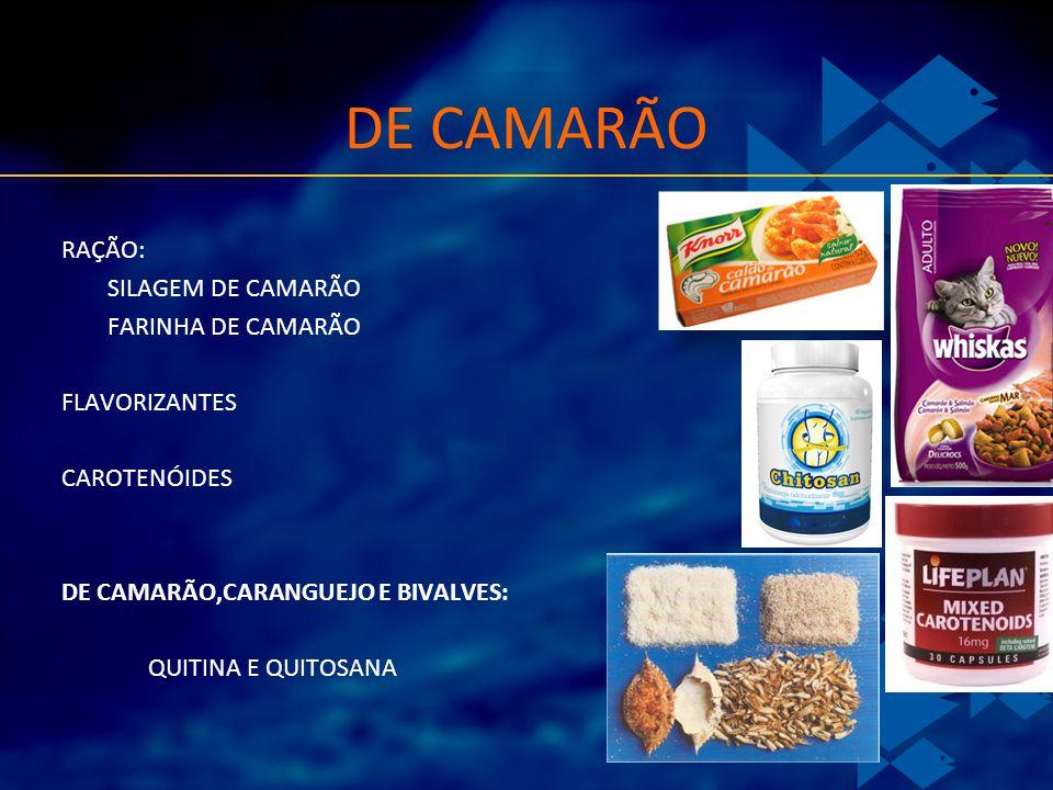 DE CAMARÃO RAÇÃO: SILAGEM DE CAMARÃO FARINHA DE CAMARÃO FLAVORIZANTES CAROTENÓIDES DE CAMARÃO,CARANGUEJO E BIVALVES: QUITINA E QUITOSANA