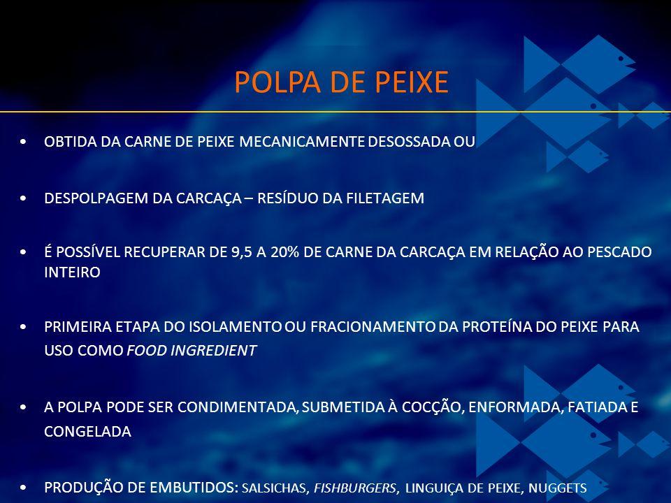 OBTIDA DA CARNE DE PEIXE MECANICAMENTE DESOSSADA OU DESPOLPAGEM DA CARCAÇA – RESÍDUO DA FILETAGEM É POSSÍVEL RECUPERAR DE 9,5 A 20% DE CARNE DA CARCAÇ