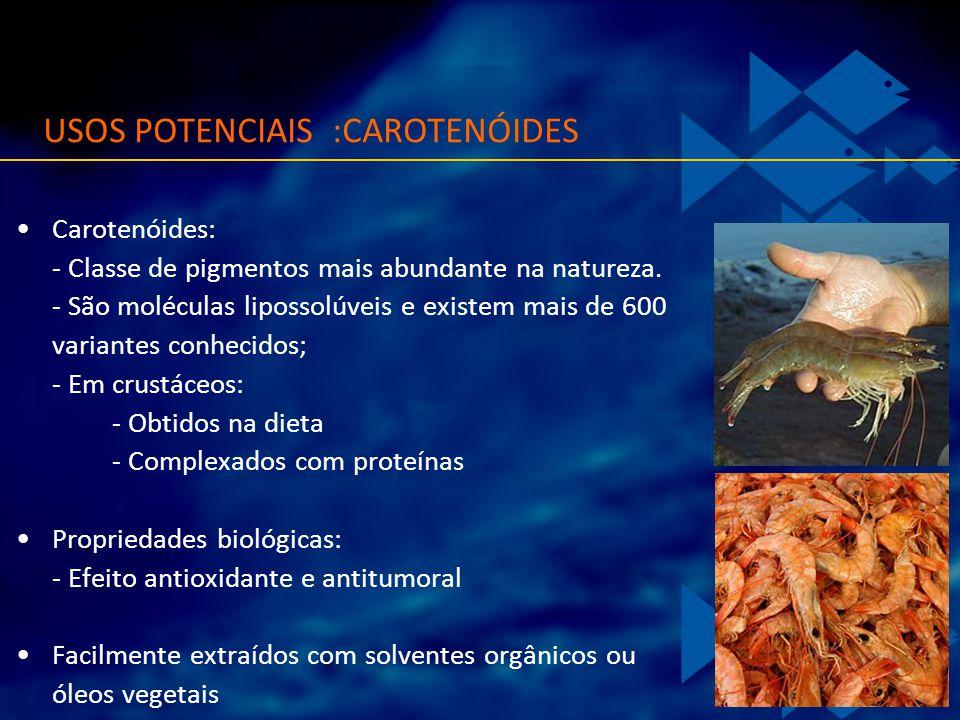 Carotenóides: - Classe de pigmentos mais abundante na natureza. - São moléculas lipossolúveis e existem mais de 600 variantes conhecidos; - Em crustác