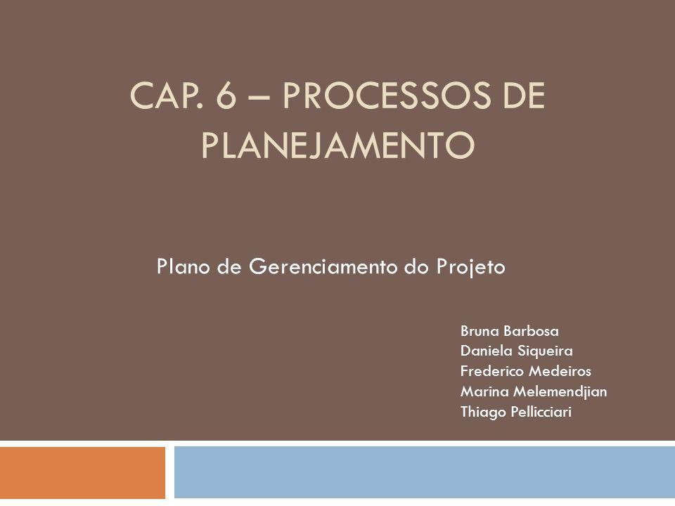 CAP. 6 – PROCESSOS DE PLANEJAMENTO Plano de Gerenciamento do Projeto Bruna Barbosa Daniela Siqueira Frederico Medeiros Marina Melemendjian Thiago Pell