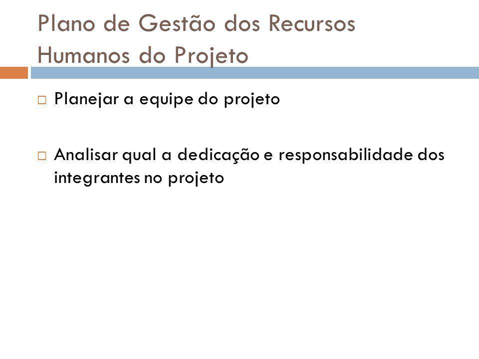 Plano de Gestão dos Recursos Humanos do Projeto Planejar a equipe do projeto Analisar qual a dedicação e responsabilidade dos integrantes no projeto
