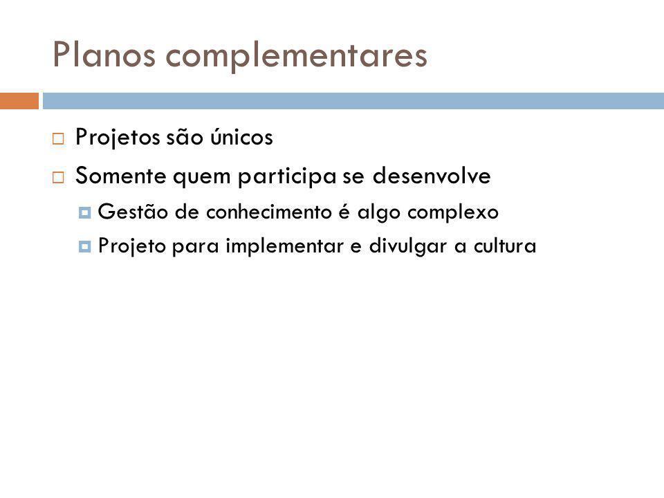 Planos complementares Projetos são únicos Somente quem participa se desenvolve Gestão de conhecimento é algo complexo Projeto para implementar e divul