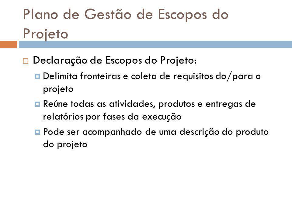 Escopo do Projeto Está contido: Gerenciamento do projeto Estudos e informações Detalhamento processos Recrutamento, treinamentos Documentação