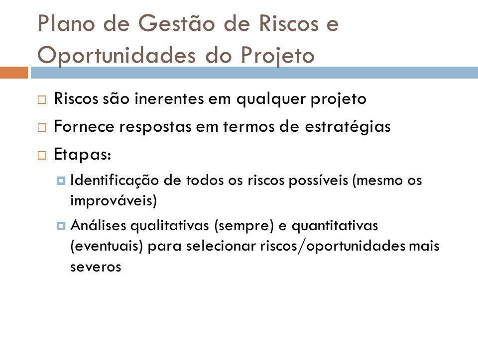 Plano de Gestão de Riscos e Oportunidades do Projeto Riscos são inerentes em qualquer projeto Fornece respostas em termos de estratégias Etapas: Ident