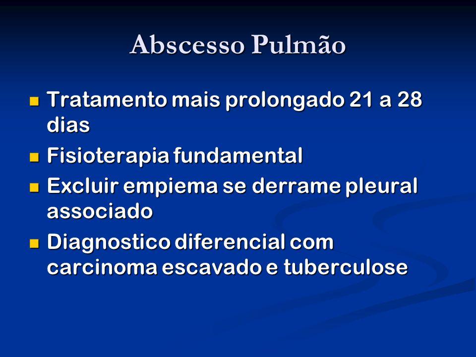 Abscesso Pulmão Tratamento mais prolongado 21 a 28 dias Tratamento mais prolongado 21 a 28 dias Fisioterapia fundamental Fisioterapia fundamental Excluir empiema se derrame pleural associado Excluir empiema se derrame pleural associado Diagnostico diferencial com carcinoma escavado e tuberculose Diagnostico diferencial com carcinoma escavado e tuberculose