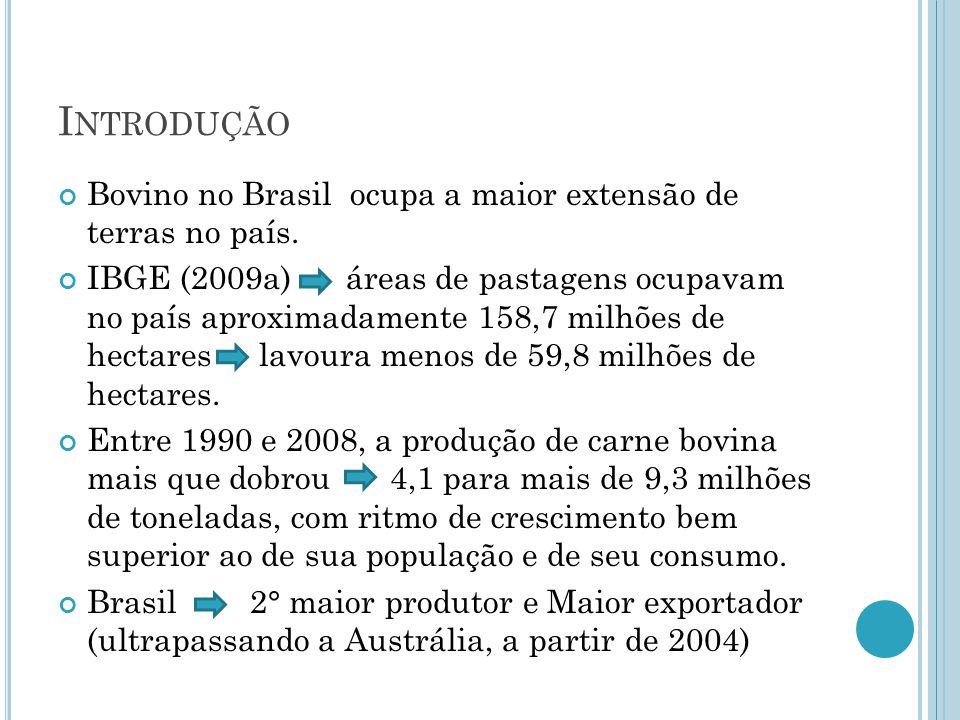 I NTRODUÇÃO Bovino no Brasil ocupa a maior extensão de terras no país.