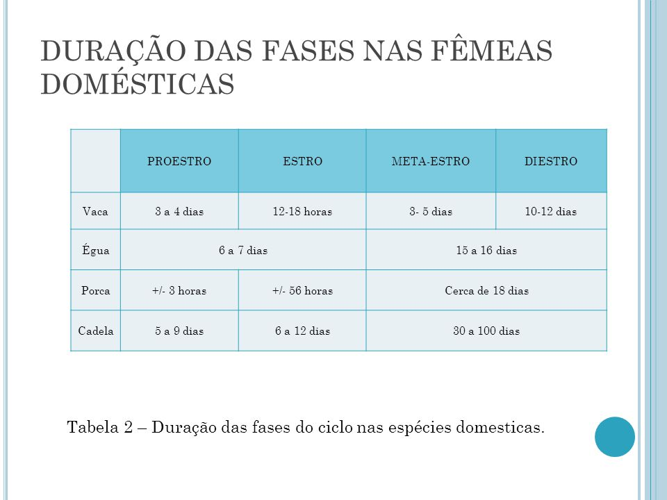 DURAÇÃO DAS FASES NAS FÊMEAS DOMÉSTICAS PROESTROESTROMETA-ESTRODIESTRO Vaca3 a 4 dias12-18 horas3- 5 dias10-12 dias Égua6 a 7 dias15 a 16 dias Porca+/- 3 horas+/- 56 horasCerca de 18 dias Cadela5 a 9 dias6 a 12 dias30 a 100 dias Tabela 2 – Duração das fases do ciclo nas espécies domesticas.